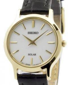 Montre Seiko solaire cadran blanc cuir sangle SUP300P1 SUP300P féminin