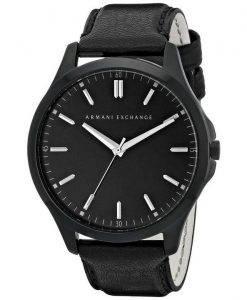Armani Exchange Quartz cadran noir cuir noir sangle AX2148 montre homme