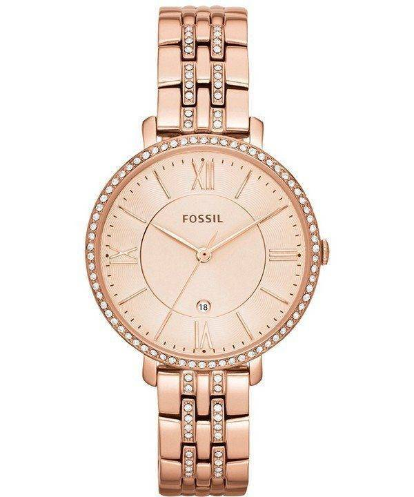 Fossiles Jacqueline Quartz Rose or cristaux Accents ES3546 femmes montre