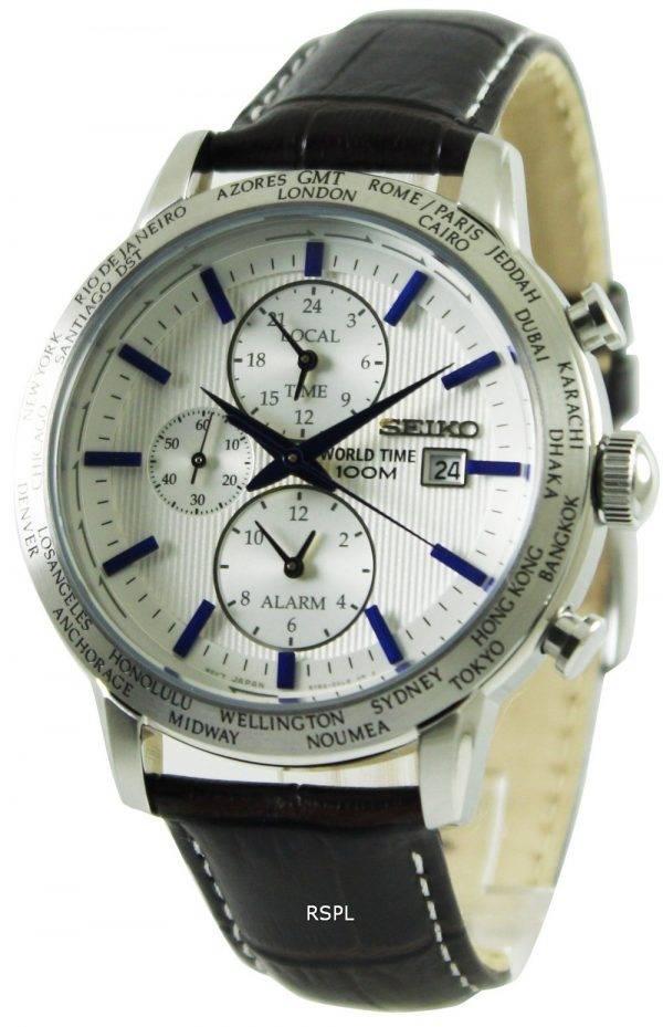 La montre de Seiko Alarme Chronographe World Time SPL051P1 SPL051P SPL051 hommes