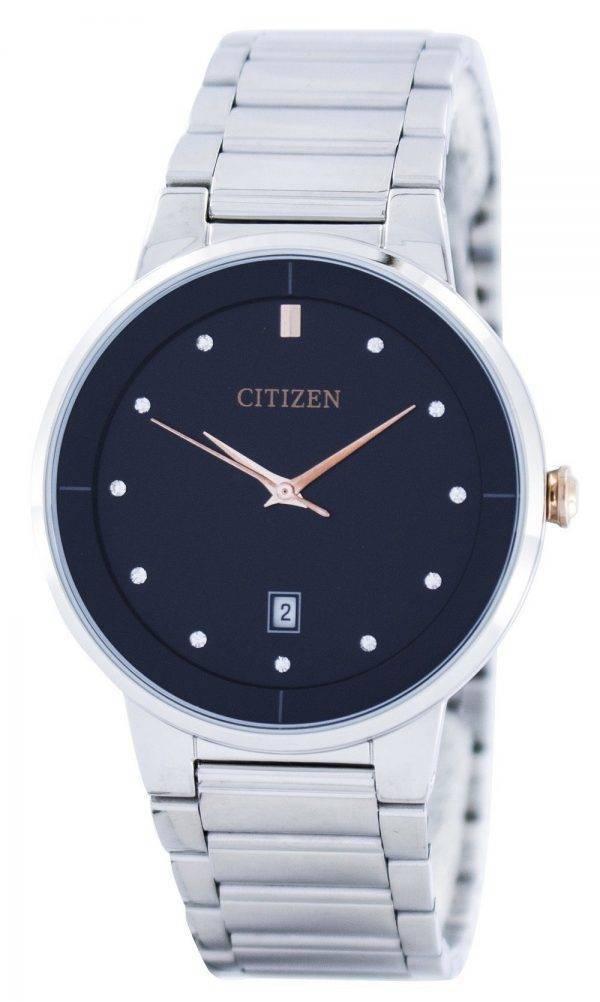 Citizen Quartz Diamond Accent Black Dial BI5014-58E Montre Homme