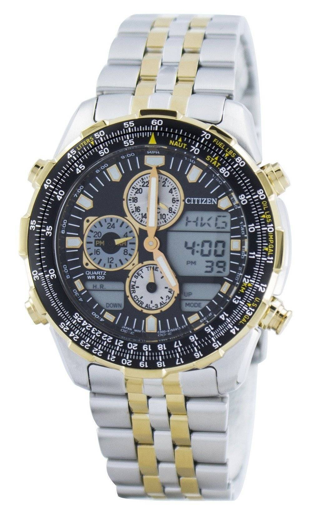 1ee7dd4ee0176 Citizen Navihawk Pilot Style Quartz Chronographe Analogique Digital World  Time JN0124-84E Montre Homme
