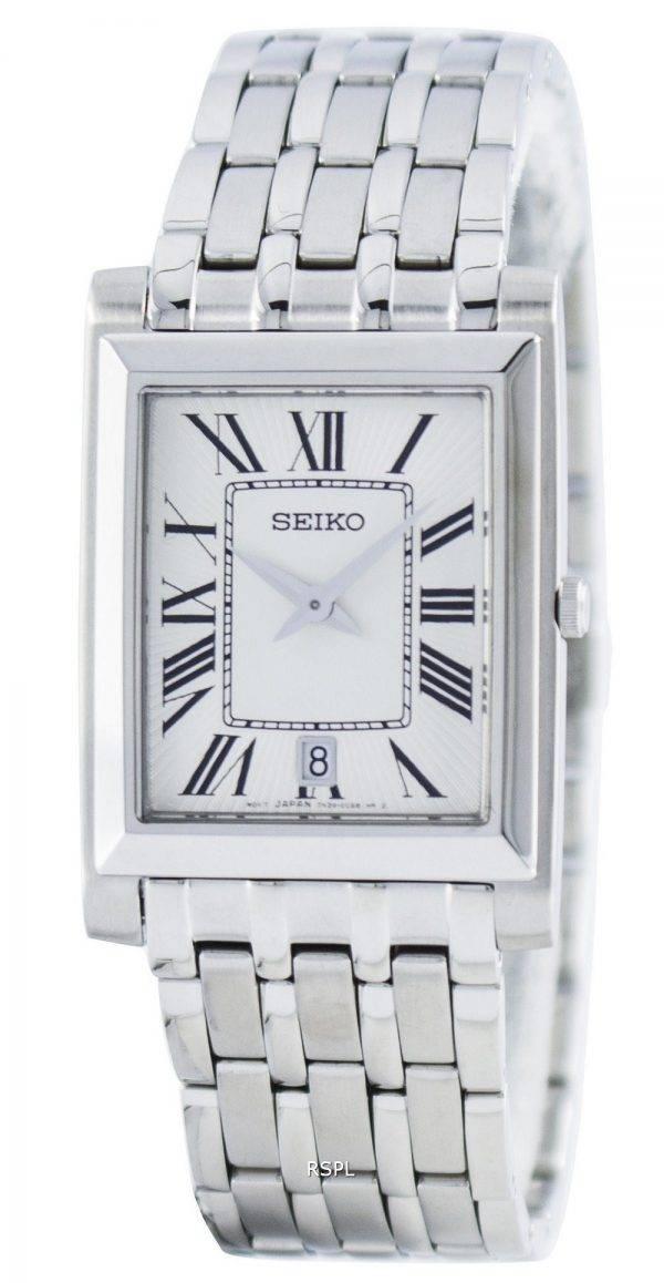 Montre Seiko Quartz rectangulaire élégant analogiques SKP357 SKP357P1 SKP357P hommes