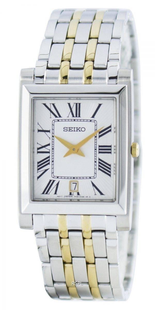 Montre Seiko Quartz rectangulaire élégant SKP359 analogiques SKP359P1 SKP359P hommes