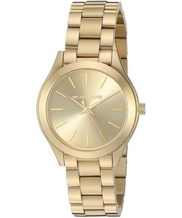 d76e66f1e22 Michael Kors petite Runway watch will make a sophisticated impression every  day. Cast in gold-tone stainless steel