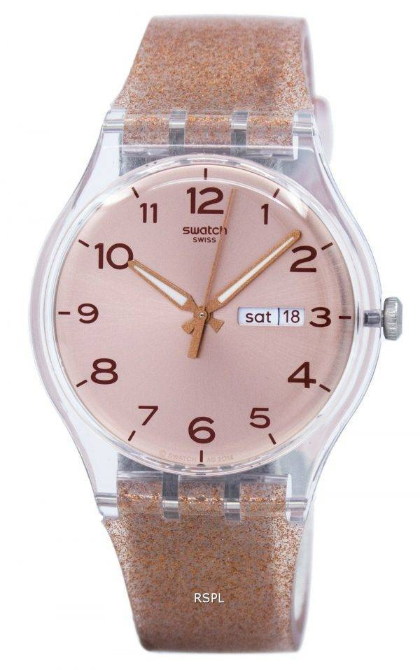 Montre unisexe Swatch Originals rose Glistar Quartz SUOK703