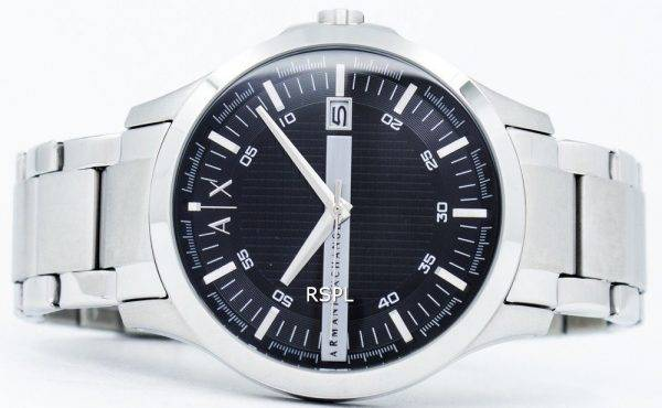 Armani Exchange cadran noir en acier inoxydable AX2103 montre homme