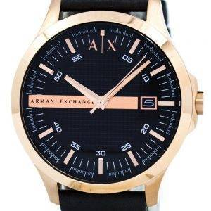 Armani Exchange Rose or cadran noir cuir sangle AX2129 montre homme