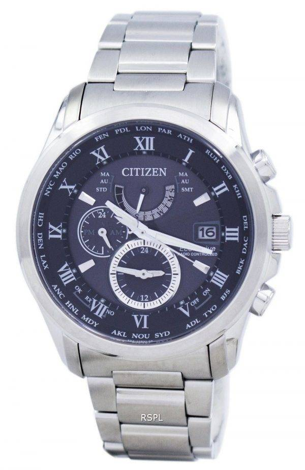 Citizen Eco-Drive Radio Controlled calendrier perpétuel monde temps AT9080-57F montre homme