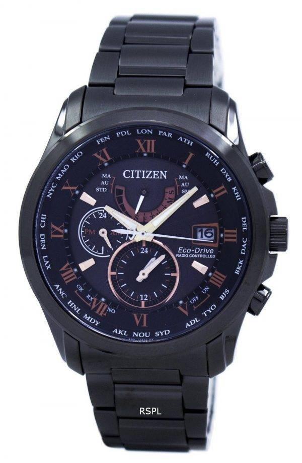 Citizen Eco-Drive Radio Controlled calendrier perpétuel monde temps AT9085-53E montre homme