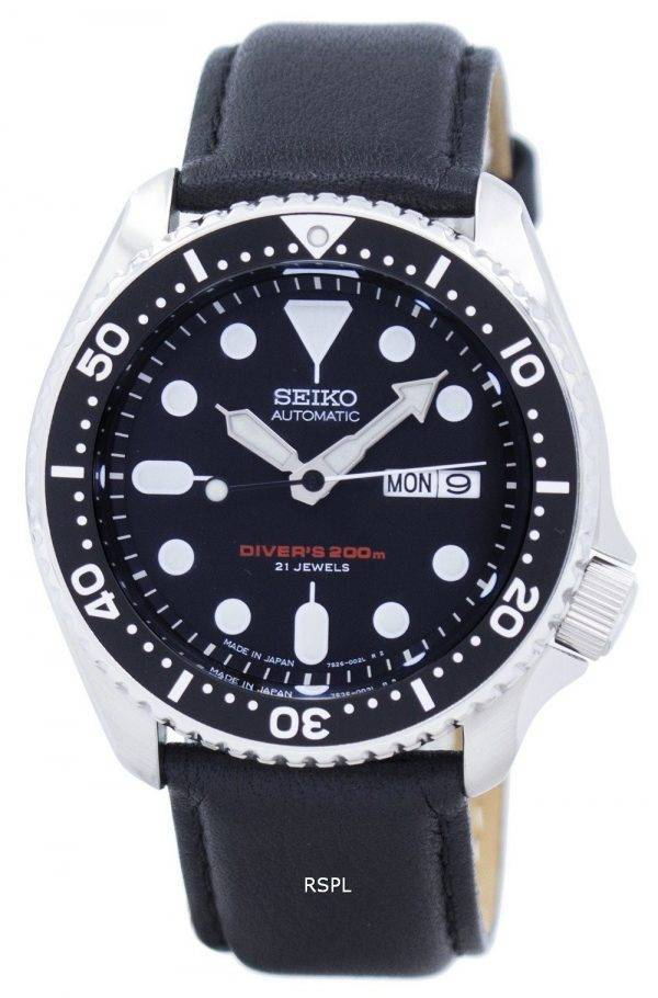 Montre Ratio en cuir noir SKX007J1-LS10 200M masculin automatique Seiko Diver