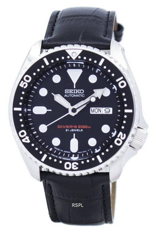 Watch Ratio en cuir noir SKX007J1-LS6 200M hommes Seiko automatique montre de plongée