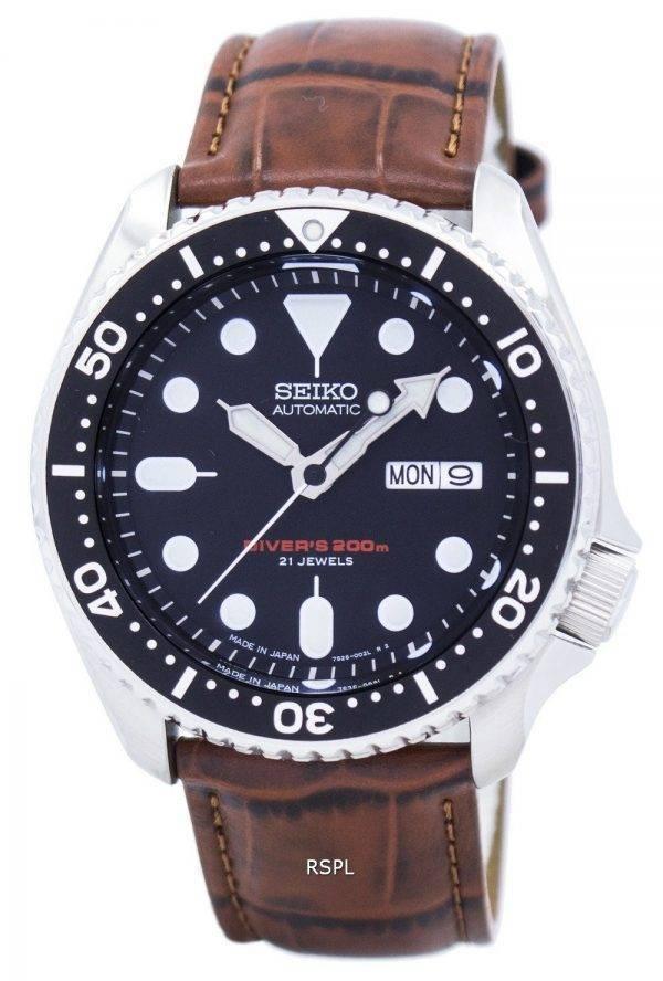Watch Ratio en cuir brun SKX007J1-LS7 200M hommes Seiko automatique montre de plongée