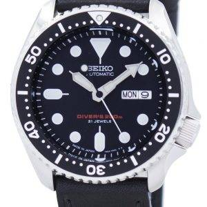 Watch Ratio en cuir noir SKX007J1-LS8 200M hommes Seiko automatique montre de plongée