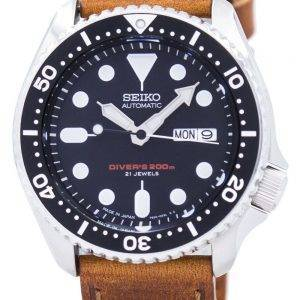 Watch Ratio en cuir brun SKX007J1-LS9 200M hommes Seiko automatique montre de plongée