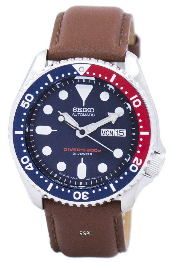 Watch Ratio en cuir brun SKX009J1-LS12 200M hommes Seiko automatique montre de plongée