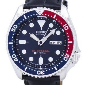 Watch Ratio en cuir noir SKX009J1-LS6 200M hommes Seiko automatique montre de plongée