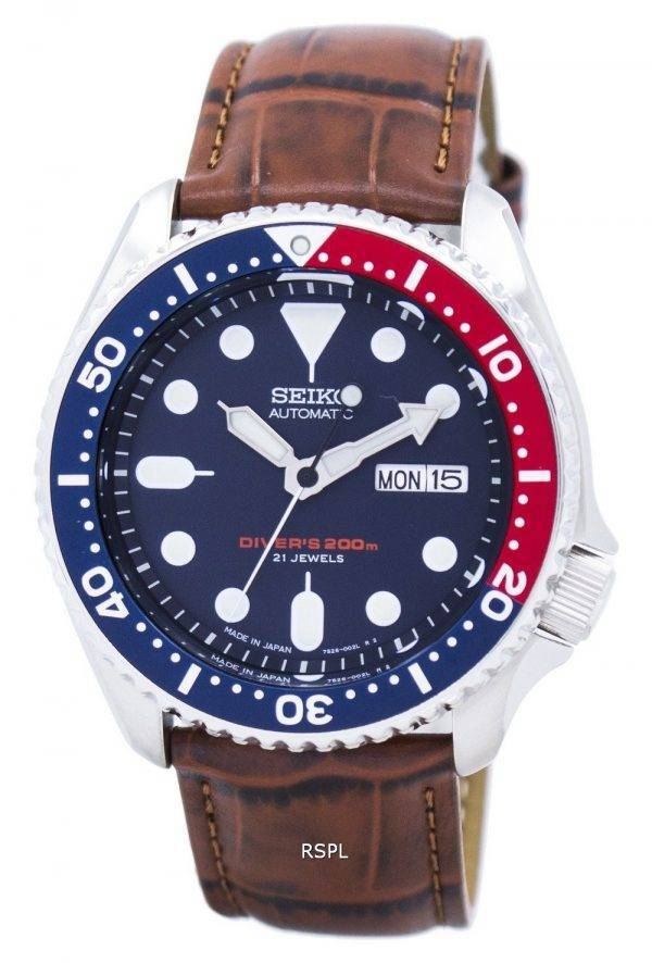 Watch Ratio en cuir brun SKX009J1-LS7 200M hommes Seiko automatique montre de plongée