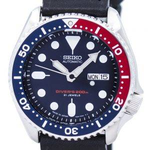 Watch Ratio en cuir noir SKX009J1-LS8 200M hommes Seiko automatique montre de plongée
