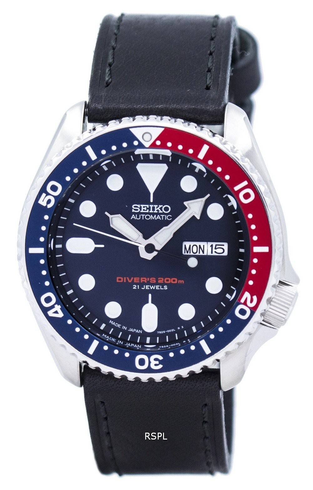 watch ratio en cuir noir skx009j1 ls8 200m hommes seiko. Black Bedroom Furniture Sets. Home Design Ideas