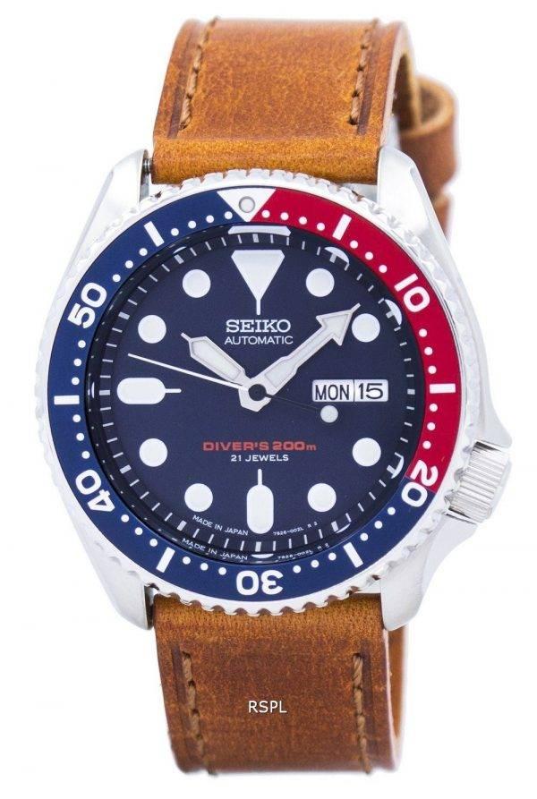 Watch Ratio en cuir brun SKX009J1-LS9 200M hommes Seiko automatique montre de plongée