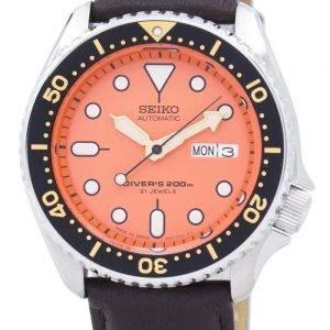 Watch Ratio en cuir marron foncé SKX011J1-LS11 200M hommes Seiko automatique montre de plongée