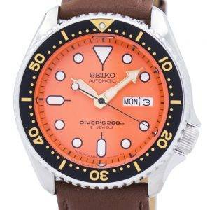 Watch Ratio en cuir brun SKX011J1-LS12 200M hommes Seiko automatique montre de plongée