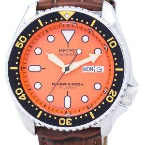 Watch Ratio en cuir brun SKX011J1-LS7 200M hommes Seiko automatique montre de plongée