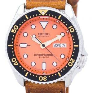 Watch Ratio en cuir brun SKX011J1-LS9 200M hommes Seiko automatique montre de plongée