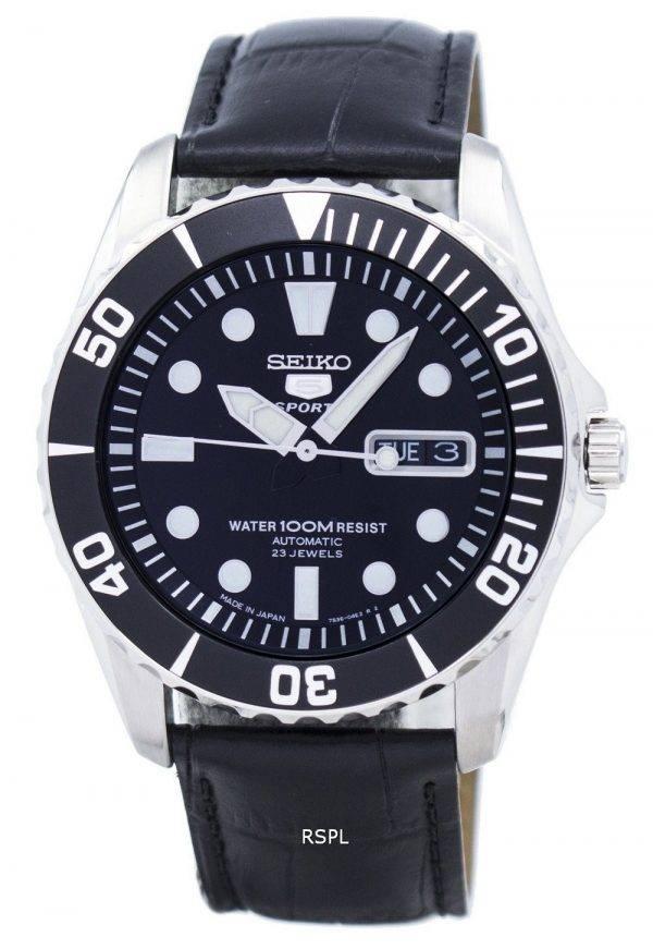 Seiko 5 Sports automatique 23 rubis Ratio cuir noir SNZF17J1-LS6 hommes