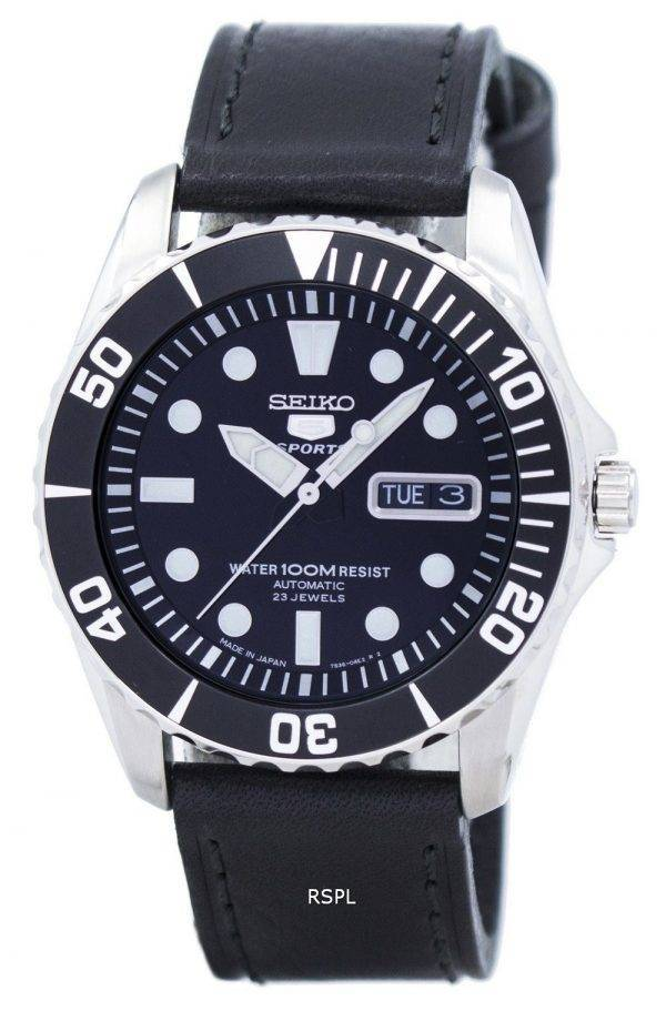 Seiko 5 Sports automatique 23 rubis Ratio cuir noir SNZF17J1-LS8 hommes