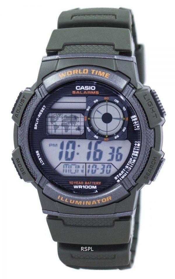 Montre Casio Illuminator monde temps alarme numérique AE-1000W-3AV hommes