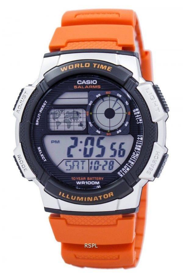 Jeunesse de Casio série illuminateur monde temps alarme AE-1000W-4BV montre homme