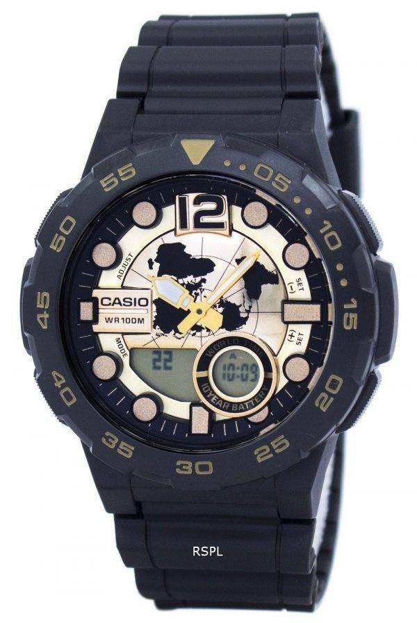 Montre Casio World Time alarme analogique numérique AEQ-100BW-9AV masculine