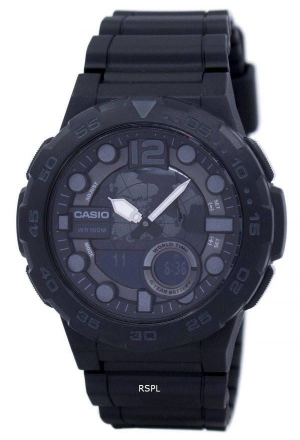 Montre Casio World Time alarme analogique numérique AEQ-100W-1BV masculine