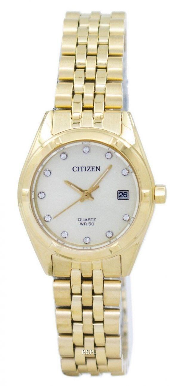 Montre Citizen analogique Quartz diamant Accent EU6052 - 53P féminin