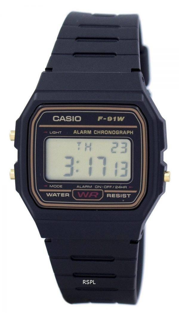 Montre Casio alarme chronographe numérique F-91WG-9 hommes