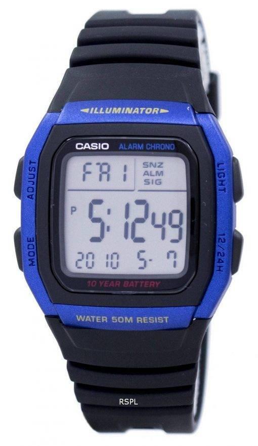 Montre Casio jeunesse série Illuminator alarme chronographe Digital W-96H-2AV hommes