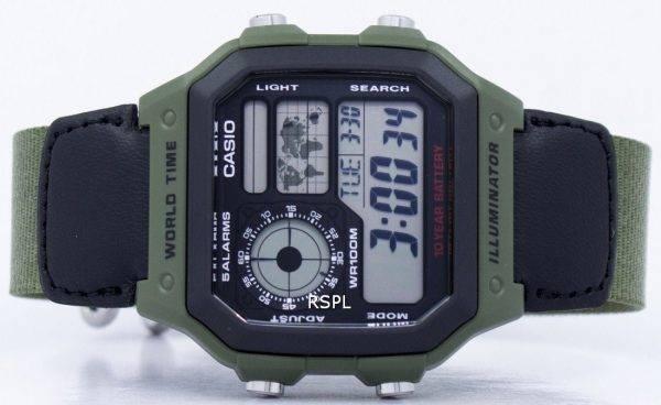Montre de Casio World Time Alarm Digital AE-1200WHB-3BV hommes