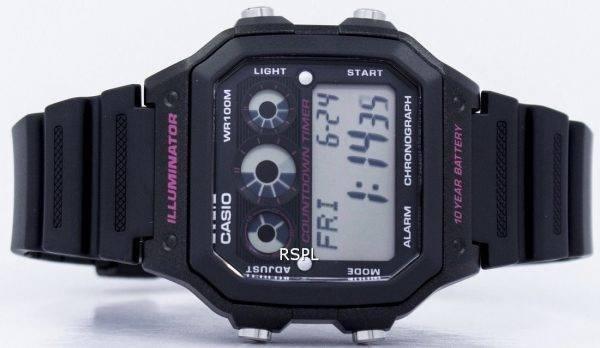 Montre Casio Illuminator chronographe alarme numérique AE-1300WH-1A2V hommes