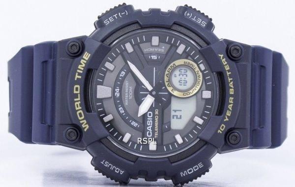 Fiche de Casio 30 monde temps alarme analogique numérique AEQ-110W-2AV montre homme