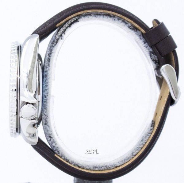 Watch Ratio en cuir marron foncé SKX007J1-LS11 200M hommes Seiko automatique montre de plongée