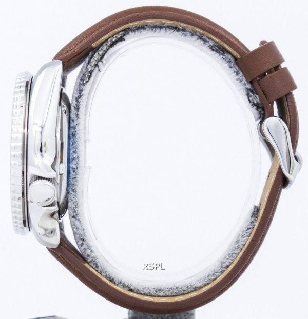 Watch Ratio en cuir brun SKX007J1-LS12 200M hommes Seiko automatique montre de plongée