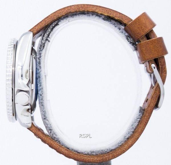 Watch Ratio en cuir brun SKX007J1-LS9 200M hommes Seiko automatique montre de plongée