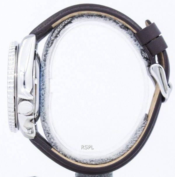 Watch Ratio en cuir marron foncé SKX009J1-LS11 200M hommes Seiko automatique montre de plongée