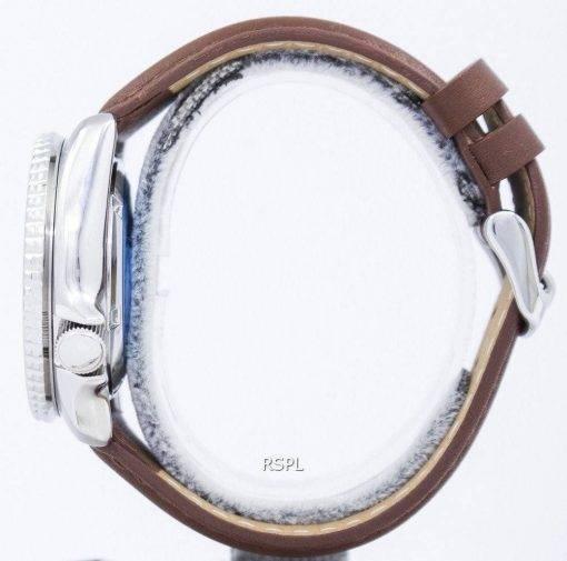 Watch Ratio en cuir brun SKX011J1-LS12 200M hommes Seiko automatique montre de plongée