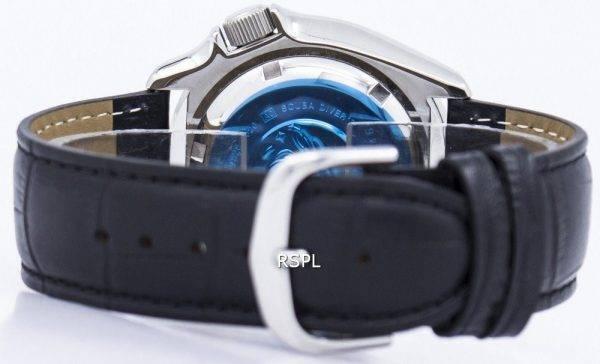 Watch Ratio en cuir noir SKX011J1-LS6 200M hommes Seiko automatique montre de plongée