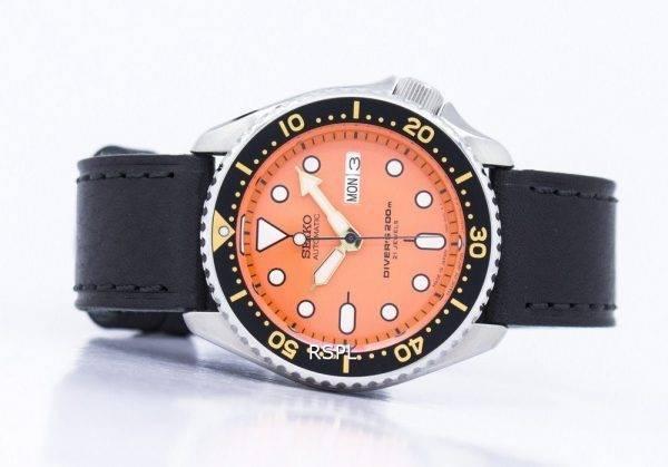 Watch Ratio en cuir noir SKX011J1-LS8 200M hommes Seiko automatique montre de plongée
