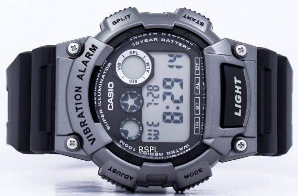 Casio Super illuminateur Dual Time Vibration alarme numérique 735H-W-1A3V montre homme