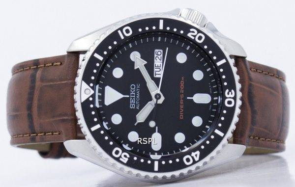 Montre 200M Ratio cuir marron SKX007K1-LS7 masculine automatique Seiko Diver